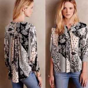Anthropologie Maeve Linden Blouse patchwork top